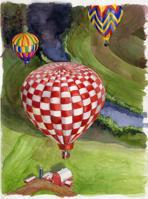 Shiere, Melin, watercolor illustration, hot air balloon